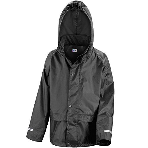 Kids Waterproof Rain Jacket In Black, Pink, Red or Royal Blue Childs Childrens Boys Girls (7-8 Years, Black)