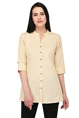 Pistaa's Women's Solid Cotton Short Top Kurti (Skin, 44 - X-Large)