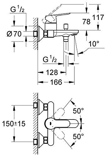 Grohe – Start Edge Wannenbatterie mit Einhebelmischer, Chrom - 3