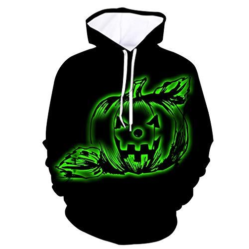 MOTOCO Hoodie Unisex lustige realistische 3D Kürbis Drucken Männer Pullover Halloween Hoodie Frauen Sweatshirt mit Känguru Tasche(M,Schwarz-3) (Print Long Sleeve Bib)