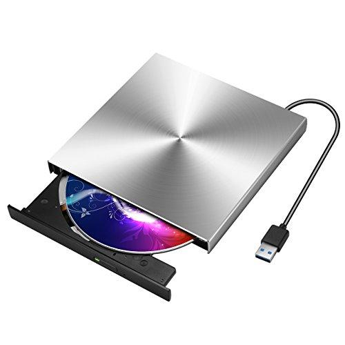 VicTsing Masterizzatore Esterno USB 3.0, Unità Ottica Esterna Ultra Sottile 9.5mm Portatile, Lettore DVD/CD/DVD-RW Esterno per PC laptop, Compatibile con Windows 10/8.1/7/Vista/Linux/Mac OS, Argento