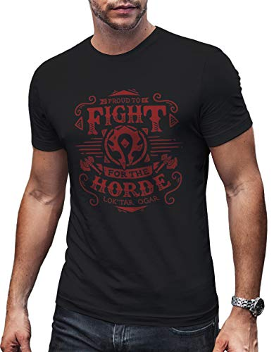 59d44fb6e Fight for The Horde Wow Gamer Shirt Warcraft Gift for Nerds Geeks Hombre  Small