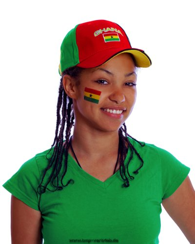 5 x Ghana Tattoo Fan Fahnen Set - Ghana Temporary Tattoo Flag (5)