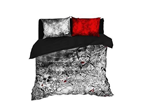 Cool Bedding Muerte Tätowierung Zuckerschädel, handgezeichnet, Bettwäsche Queen Set mit Bettlaken 4-teilig