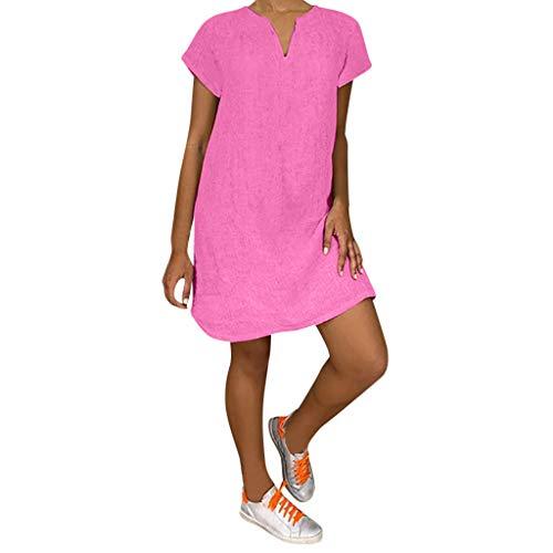 Lazzboy Damenmode Lose Freizeit V-Kragen Kurzarm Damen Leinenkleid Sommer V-Ausschnitt Kleid Boho Sommerkleid Leinen Kleider Strandkleider A-Linie(Rosa,L)