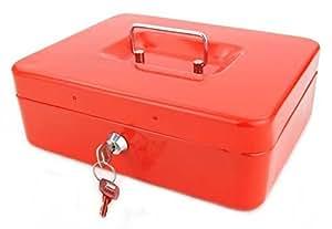 Caisse boite à monnaie en métal monnayeur 25cm - Rouge