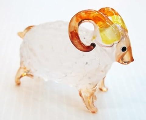 Petit mouton, FIGURINE blanche en verre Murano COLLECTIBLE MINIATURE main soufflé Art