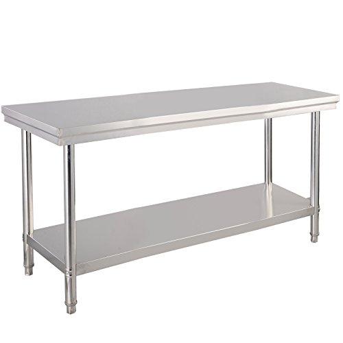 COSTWAY Edelstahl Küchentisch Arbeitstisch Gastro Tisch Edelstahltisch Zubereitungstisch mit Zwischenbord 122x61x90cm (Küchentisch, Möbel)