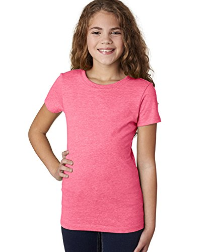 Next Level Nächste Level 3710Jugend Baumwolle Prinzessin Tee Gr. M (US Größe) (US Größe), Neon Heather Pink (60/40) (Pink-jugend-mädchen T-shirt)
