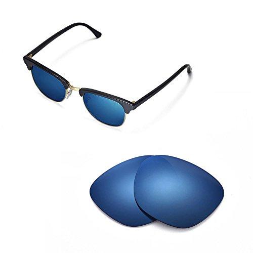 Walleva Ersatzgläser für Ray-Ban Clubmaster RB3016 49mm - Mehrfache Optionen (Eisblau beschichtet - polarisiert)