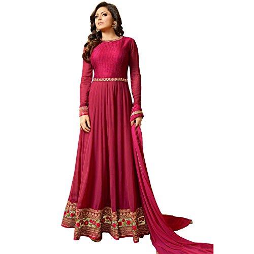 Ethnic Empire Women's Georgette Semi Stitch Salwar Suit (Ethnic_ER11074_Pink_Free Size)