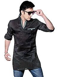 Indien Shirt Vêtements Mode Pour Hommes Court Kurta Lin Coton Inde Robes