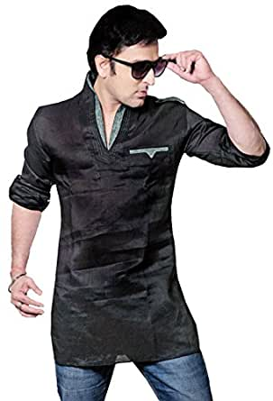 Indian Clothes Fashion Shirt Mens Short Kurta Dress Linen Cotton (Black, XXXL)