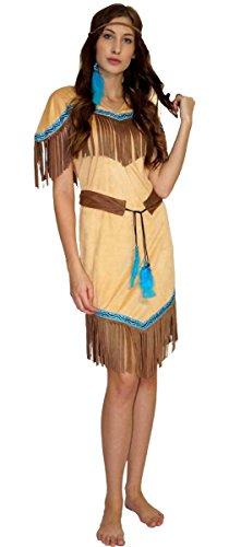 Pocahontas Kostüm - MAYLYNN 16617 - Kostüm Indianerin Indianerkostüm Squaw Damen 3-teilig: Kleid, Gürtel, Stirnband, Größe:S