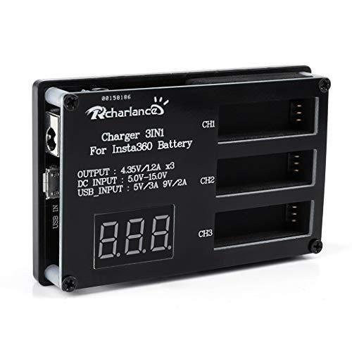 Ladegerät 3in1 Multi Battery Charger Hub RC Intelligentes Schnellladen für Insta360 One X mit dem bis zu 3 Akkus gleichzeitig geladen werden können (schwarz)