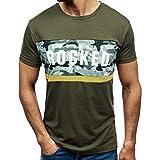 Xmiral T Shirt Top Fashion Casual Maglietta Stampata a Maniche Corte da Uomo M Army Green