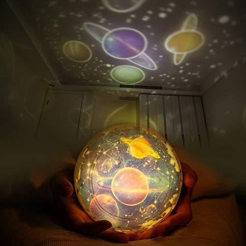 Sternenhimmel Projektor Lampe Kinder Baby LED Nachtlicht Schlummerleuchten Sterne Nachtlicht Projektor Drehbar mit 3 LEDs, 8 Licht Modus, 2 Energieversorgung, Geburtstag Weihnachten Geschenk