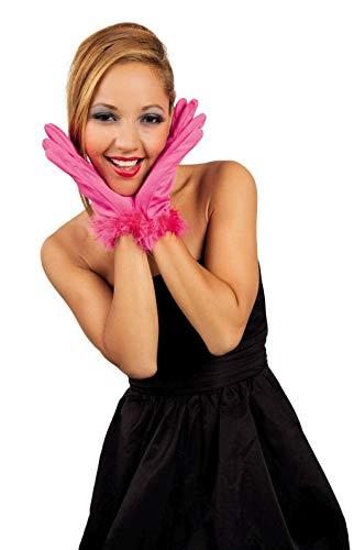 narrenkiste B03109 pink Damen Handschuhe mit Marabu Rand