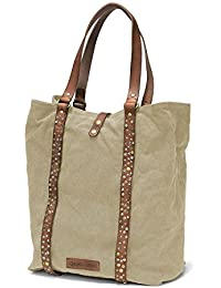 DRAKENSBERG Kimberley Tote Shopper, Handtasche, Shopping Tasche, Unitasche, Nietentasche, Canvas, Leder, Vintage