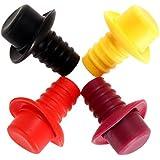 Sombrero de vino - TOOGOO(R)1 Pieza de tapon de barra de sombrero de botella de vino de silicona herramientas de sellado al vacio color al azar