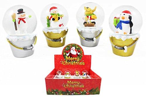 Schneekugeln im Display Merry Christmas, ca. 7.5 cm, 4fach sortiert, 12 Stück (0982900) (Weihnachten Schneekugel-display)