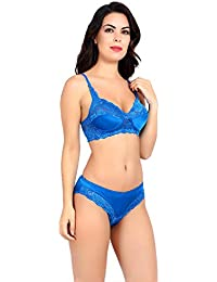 6f7eee4aca Akakee Women s Everyday Non Padded Wire Free Full Coverage Lace Bra Panty  Set (Firozi)