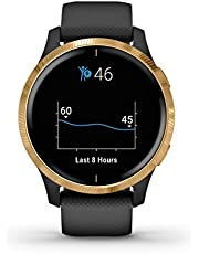 Garmin Stainless-Steel Venu Black with Gold Hardware Amoled Display and Up to 5-Day Battery Life in Smartwatch Mode Up to 6 Hours in GPS Mode with Music