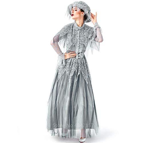 FUPOA Edle Frauen Vampir Braut Skelett Scary Kostüm Halloween Kleid Gotik Vintage Mittelalter...