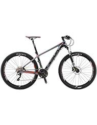 """SAVA DECK 300 27.5""""/29"""" Bicicleta de Montaña de Fibra de Carbono 30-Velocidad Shimano M610 Hard Tail Bicicleta SR SUNTOUR Horquilla de Suspensión Mountain Bike Maxxis Neumáticos (Gris & Rojo, 27.5"""")"""