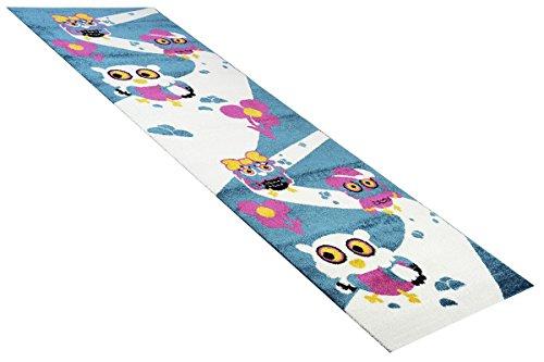 Kinder-Teppich Läufer Wandertag Blau in 80x250 cm - Spiel-Teppich versandkostenfrei schadstoffgeprüft pflegeleicht antistatisch schmutzabweisend robust strapazierfähig Kinderzimmer Kinder-Motiv Kids