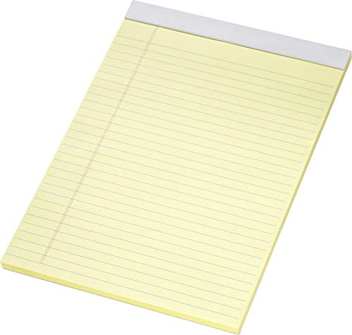 5x Legal-Pad Notizblock A4, gelb, mit Perforation