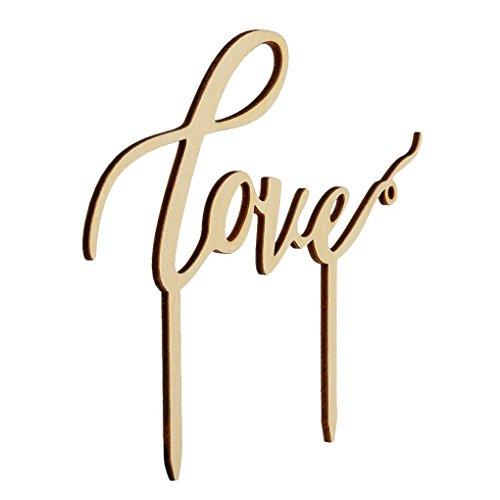 Hölzerne Hochzeitstorte liefert englische Buchstaben Love Shaped Wedding Cakes Topper