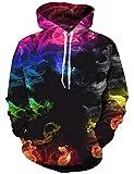 Goodstoworld Bunt 3D Hoodie Jungens Unisex Bunt Smoking Druck Hoodie Pullover Sweatshirt Langarm Fleece Kapuzenjacke Kostüm Top