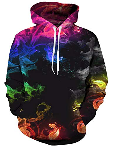 Goodstoworld Bunt 3D Hoodie Jungens Unisex Bunt Smoking Druck Hoodie Pullover Sweatshirt Langarm Fleece Kapuzenjacke Kostüm Top (Für Coole Partner-kostüme Halloween)