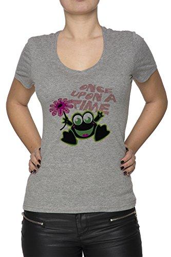 Once Upon A Time Donna V-Collo T-shirt Grigio Cotone Maniche Corte Grey Women's V-neck T-shirt