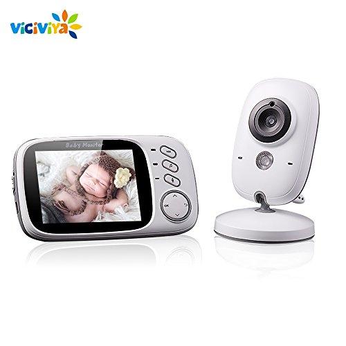 Babyphone mit Kamera 2.4GHz ,VICIVIYA 3.2' LCD Digital Video Baby Monitor Überwachungskamera mit Gegensprechfunktion Temperatursensor Schlaflieder Nachtsicht Intelligente Kinderfürsorge (BB113)