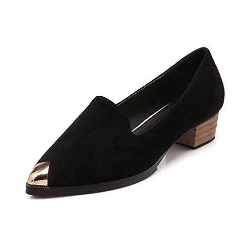 AalarDom Women's Imitated Suede Pull On Pointed Closed Toe Low-Heels