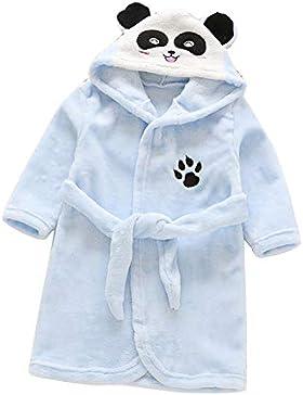 Runyue Toalla para Niños con Capucha Felpa Albornoz de Dibujos Animados Pijamas Panda Azul 120