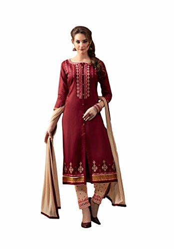 Maroon colour embroidery cotton unstitched Straight churidar cotton-salwar-kameez