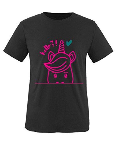 Comedy Shirts - Luscherndes Einhorn Hello?! - Mädchen T-Shirt - Schwarz / Pink-Türkis Gr. 152/164