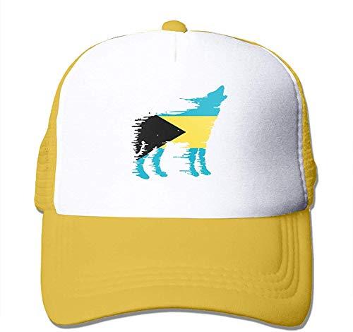 Voxpkrs Unisexbahamas-Flaggen-Wolf-zweifarbige Fernlastfahrer-Hut-Maschen-Ball-Kappe - die freie Natur schön 32261