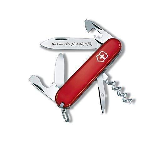 ORIGINAL Victorinox Couteaux de poche modèle Touriste avec personnels GRAVURE SUR lame gravé avec logo Motifs caractères ou graphique fin laser-gravure 0.3603