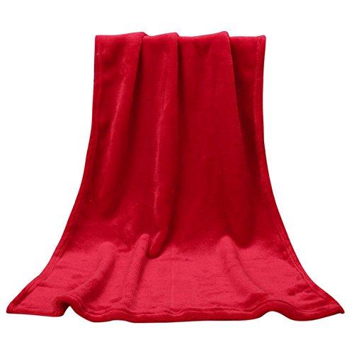 Hukz Einfarbige Elegante Decke,45 * 65 cm Mode Solide Werfen Kinder Decke Warme Korallen Plaid Decken Flanell,Dauerhafte Wärme in Kalten Nächten (Rot) -