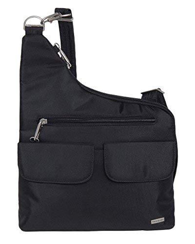 Travelon Anti-Diebstahl-Umhängetasche, 2 Taschen, Black W/Floral Lining (Schwarz) - 5812455368 -