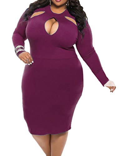 Smile YKK Femme Hollow Out Sexy Robe à Manche Longue Col Rond Slim Violet