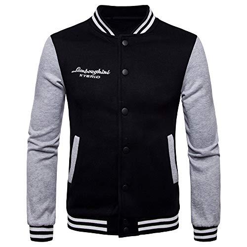 Yazidan Unisex Baseball Jacke Langarm Splicing Sweatshirt Top Bluse Classics Jacke Mantel Baumwolle Varsity Jacket College-Jacke Sweatjacke Sportjacke Freizeit Collegejacke Denim Varsity Jacket