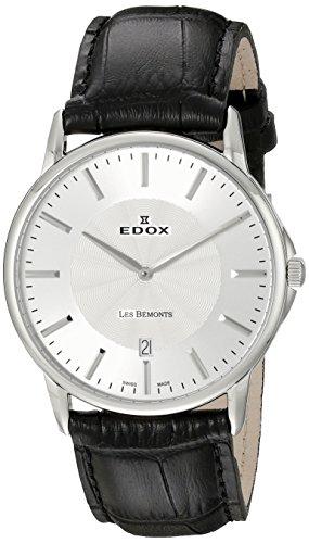 Edox Homme 560013AIN les Bemonts Affichage analogique Swiss Quartz Noir montre