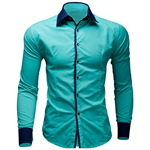 Subfamily top uomo,uomo casuale colore puro maglia a maniche lunghe commerciale sottile camicia(verde menta,m)