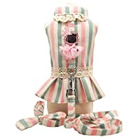 3°Amy pet clothes Warm Coats Cute Dog Princess Tutu Dress Skirt Dog Lover Clothes Shirt Vest Small Pet Cat Dog Harness Vest And Leash Dog Collar Leads #L821 (Color : Dress, Size : XL)