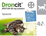 DRONCIT Vermifuge Spot-on for Medium Cats from 2.5 to 5KG Box of 4 PIPETTES